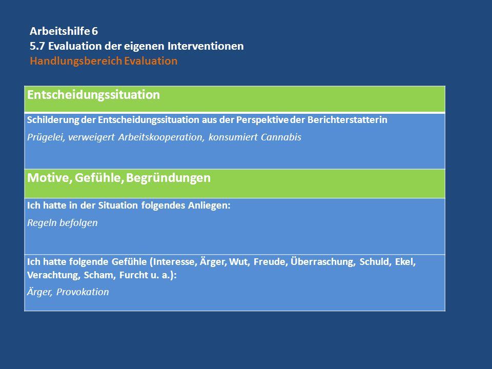 Entscheidungssituation Schilderung der Entscheidungssituation aus der Perspektive der Berichterstatterin Prügelei, verweigert Arbeitskooperation, kons
