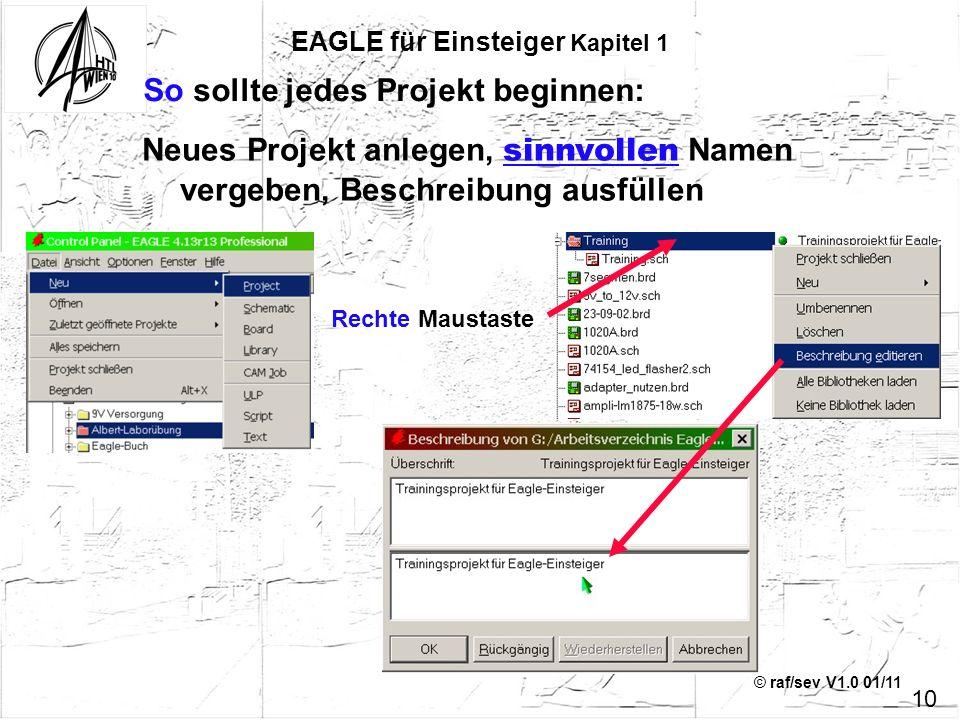 © raf/sev V1.0 01/11 Neues Projekt anlegen, sinnvollen Namen vergeben, Beschreibung ausfüllen Rechte Maustaste EAGLE für Einsteiger Kapitel 1 So sollt