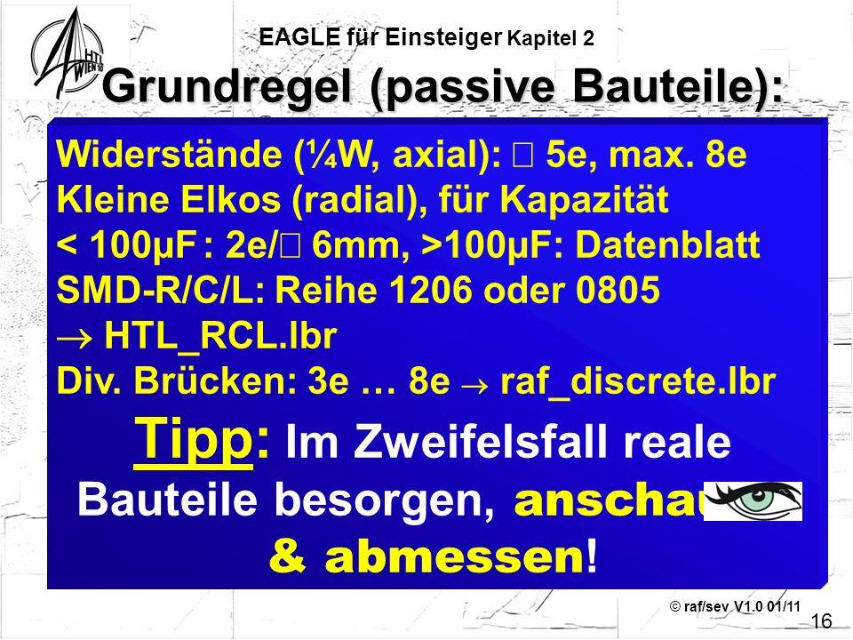 © raf/sev V1.0 01/11 16 Widerstände (¼W, axial): 5e, max. 8e Kleine Elkos (radial), für Kapazität 100µF: Datenblatt SMD-R/C/L: Reihe 1206 oder 0805 HT
