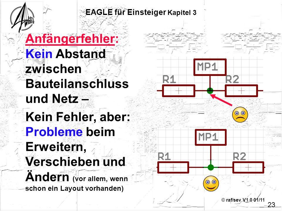 © raf/sev V1.0 01/11 Anfängerfehler: Kein Abstand zwischen Bauteilanschluss und Netz – Kein Fehler, aber: Probleme beim Erweitern, Verschieben und Änd