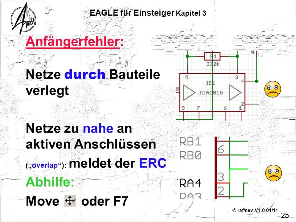 © raf/sev V1.0 01/11 EAGLE für Einsteiger Kapitel 3 Anfängerfehler: Netze durch Bauteile verlegt Netze zu nahe an aktiven Anschlüssen (overlap): melde