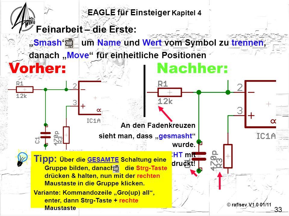 © raf/sev V1.0 01/11 33 EAGLE für Einsteiger Kapitel 4 Feinarbeit – die Erste: Smash um Name und Wert vom Symbol zu trennen, danach Move für einheitli