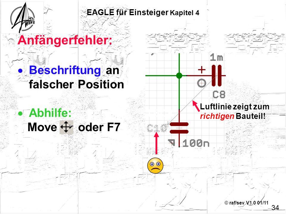 © raf/sev V1.0 01/11 Anfängerfehler: Beschriftung an falscher Position Abhilfe: Move oder F7 34 EAGLE für Einsteiger Kapitel 4 Luftlinie zeigt zum ric