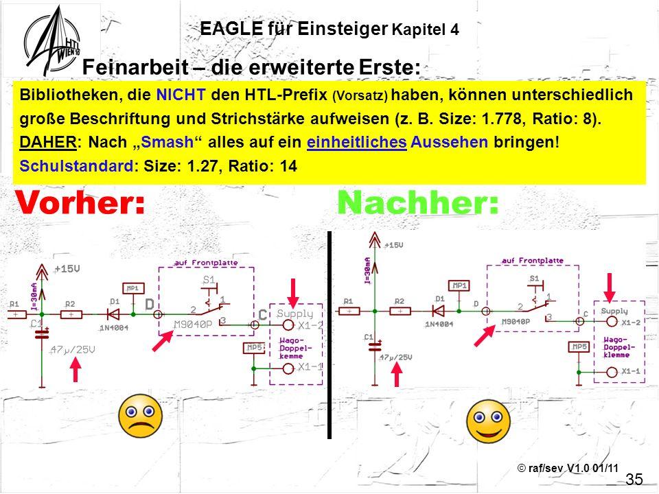 © raf/sev V1.0 01/11 35 EAGLE für Einsteiger Kapitel 4 Feinarbeit – die erweiterte Erste: Bibliotheken, die NICHT den HTL-Prefix (Vorsatz) haben, könn