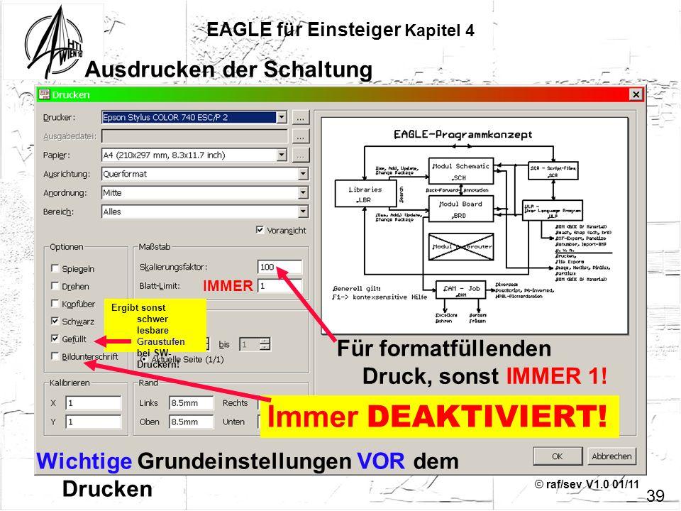 © raf/sev V1.0 01/11 39 EAGLE für Einsteiger Kapitel 4 Ausdrucken der Schaltung Wichtige Grundeinstellungen VOR dem Drucken Immer DEAKTIVIERT! Ergibt