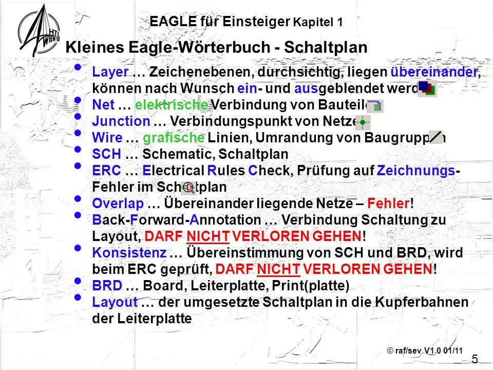 © raf/sev V1.0 01/11 EAGLE für Einsteiger Kapitel 4 Feinarbeit – die Zweite: Alles positioniert, beschriftet Der ERC meldet keine neuen Fehler: 36