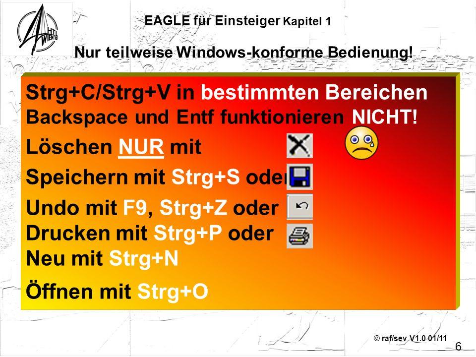 © raf/sev V1.0 01/11 Strg+C/Strg+V in bestimmten Bereichen Backspace und Entf funktionieren NICHT! Löschen NUR mit Speichern mit Strg+S oder Undo mit