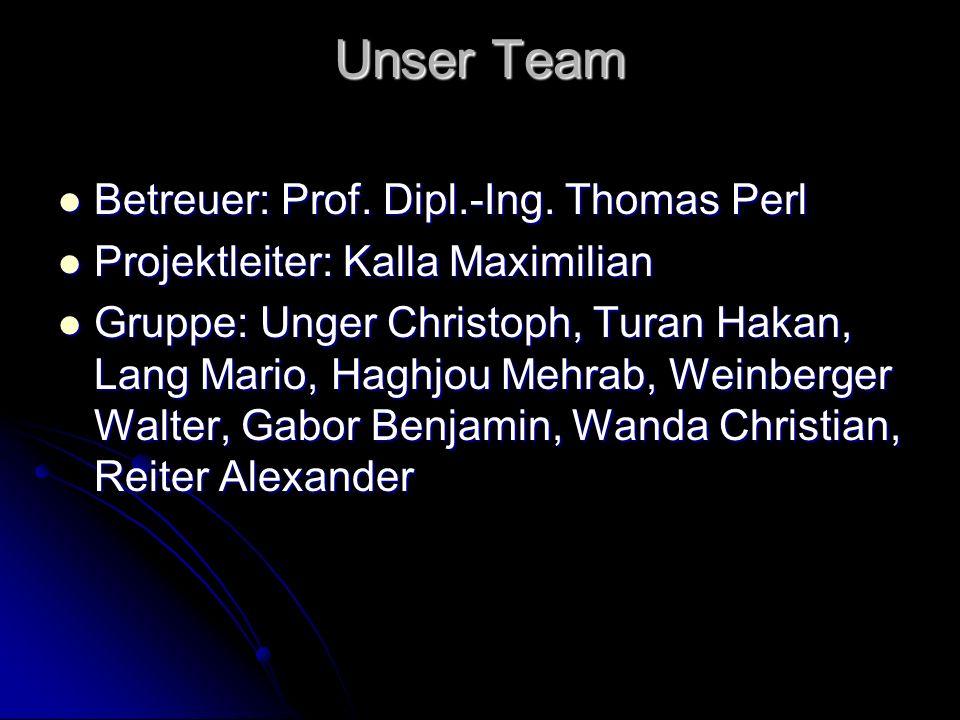 Unser Team Betreuer: Prof. Dipl.-Ing. Thomas Perl Betreuer: Prof. Dipl.-Ing. Thomas Perl Projektleiter: Kalla Maximilian Projektleiter: Kalla Maximili