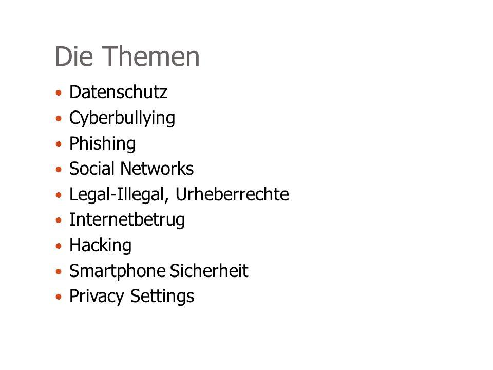 Die Themen Datenschutz Cyberbullying Phishing Social Networks Legal-Illegal, Urheberrechte Internetbetrug Hacking Smartphone Sicherheit Privacy Settings