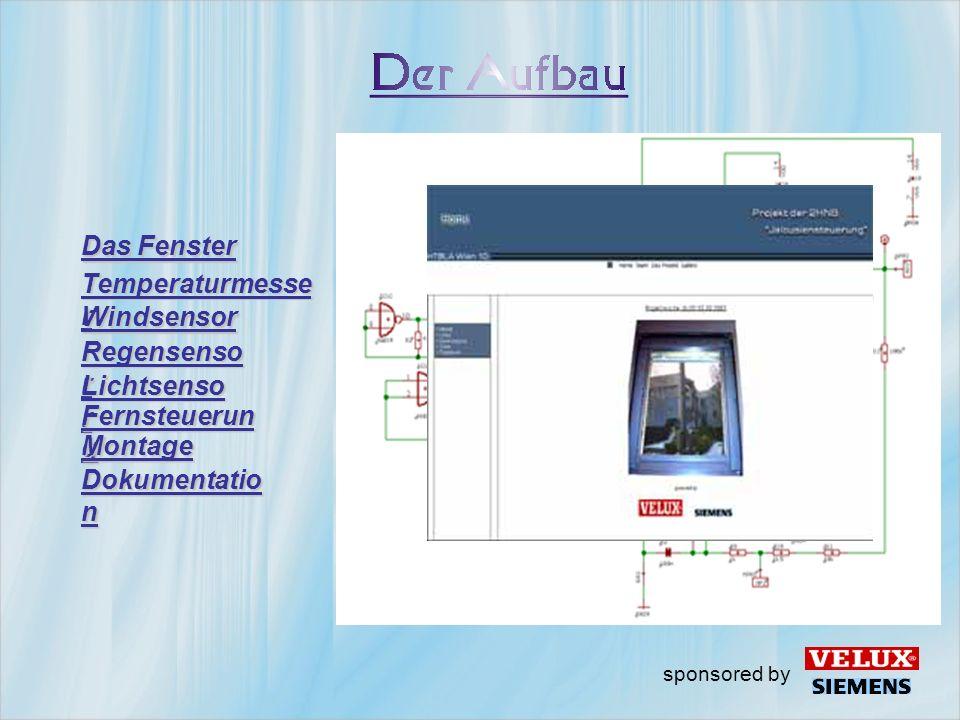 Das Fenster Temperaturmesse r Windsensor Regensenso r Lichtsenso r Fernsteuerun g Montage sponsored by Dokumentatio n