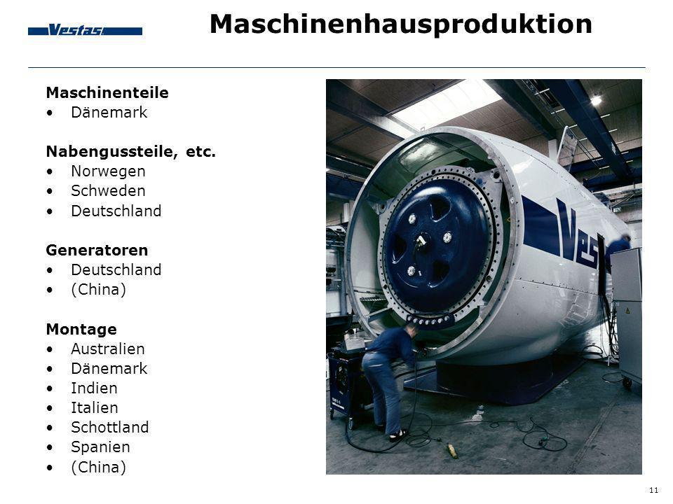 11 Maschinenhausproduktion Maschinenteile Dänemark Nabengussteile, etc. Norwegen Schweden Deutschland Generatoren Deutschland (China) Montage Australi
