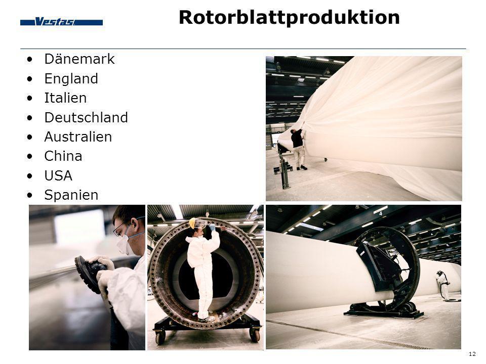 12 Rotorblattproduktion Dänemark England Italien Deutschland Australien China USA Spanien