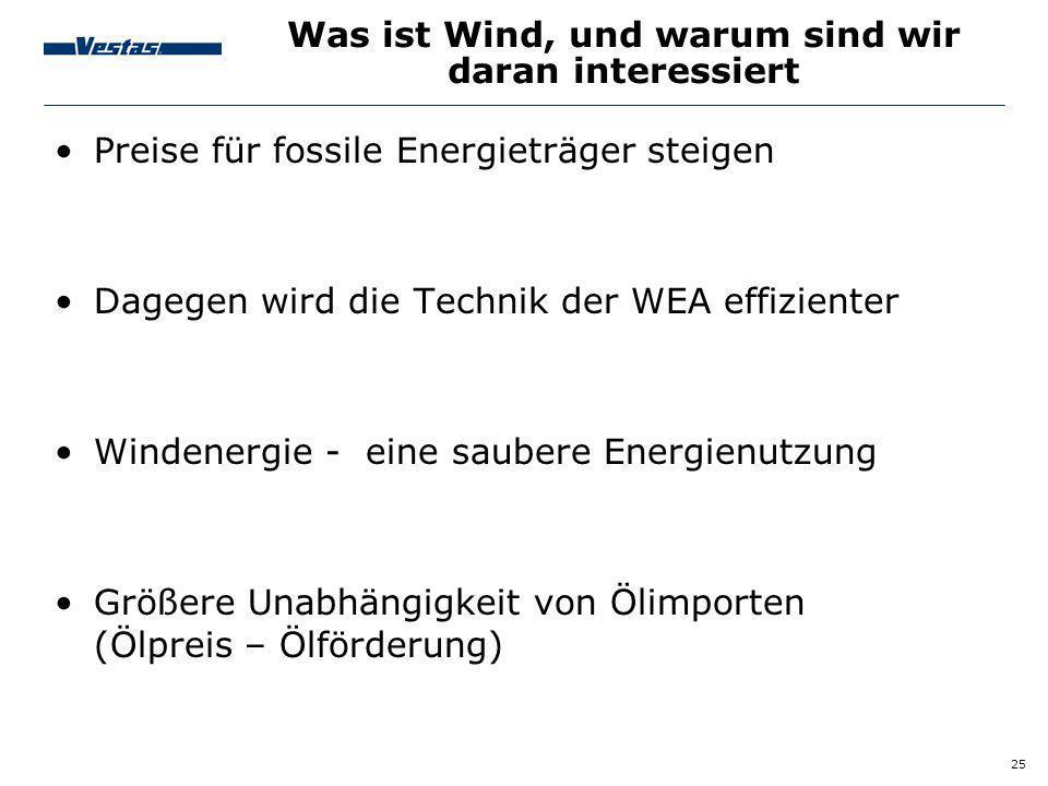 25 Preise für fossile Energieträger steigen Dagegen wird die Technik der WEA effizienter Windenergie - eine saubere Energienutzung Größere Unabhängigk