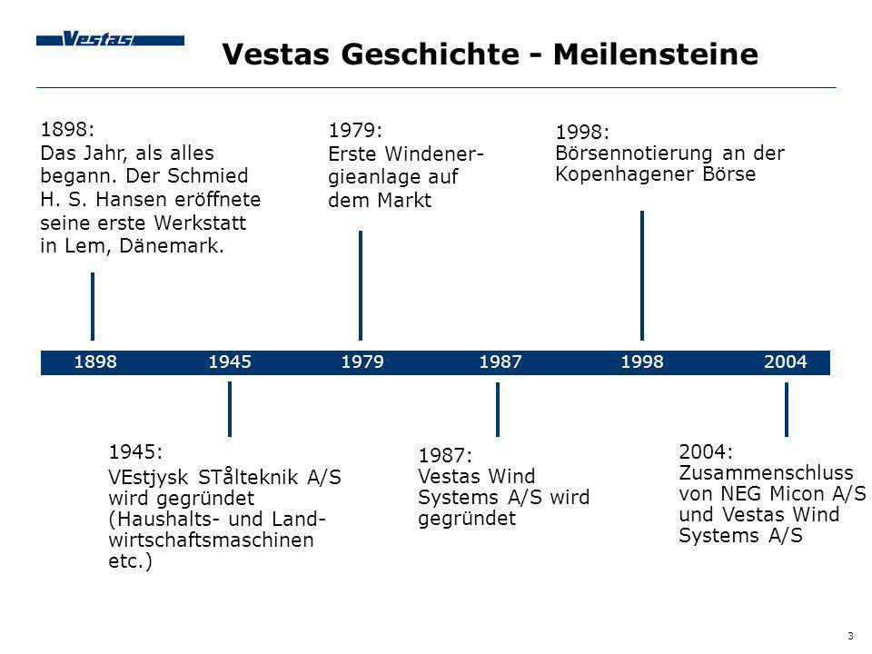 3 Vestas Geschichte - Meilensteine 1898 1945 1979 1987 1998 2004 1898: Das Jahr, als alles begann. Der Schmied H. S. Hansen eröffnete seine erste Werk