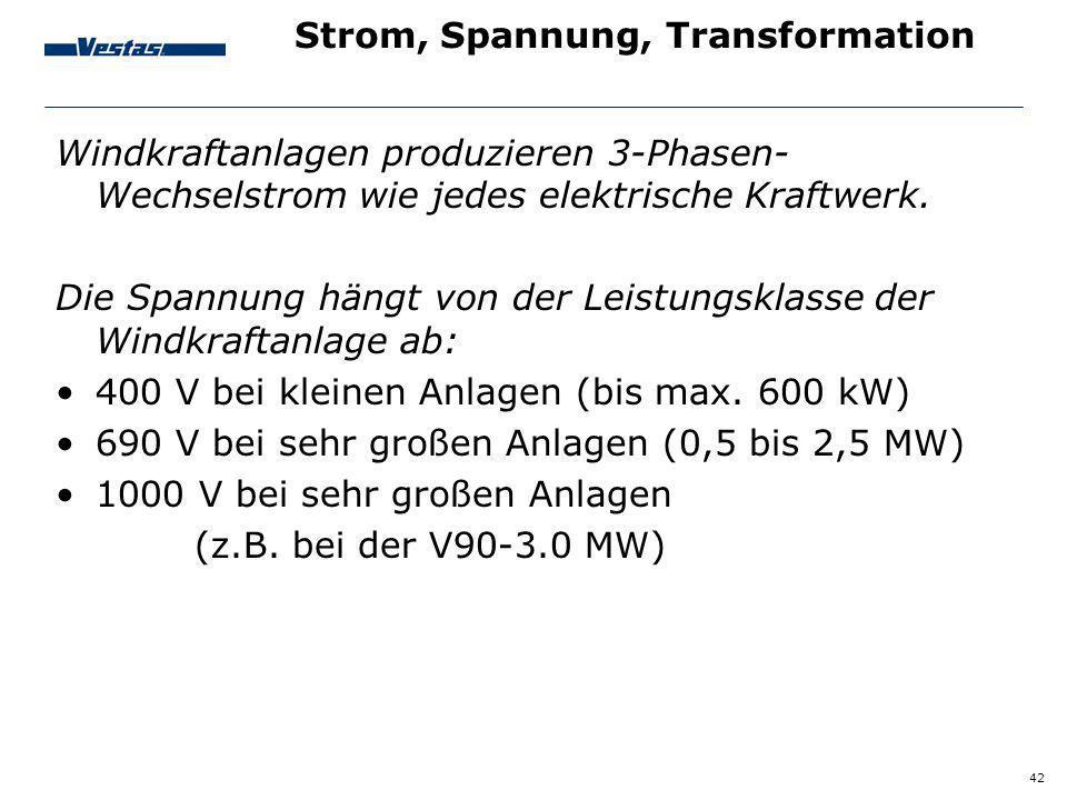42 Strom, Spannung, Transformation Windkraftanlagen produzieren 3-Phasen- Wechselstrom wie jedes elektrische Kraftwerk. Die Spannung hängt von der Lei