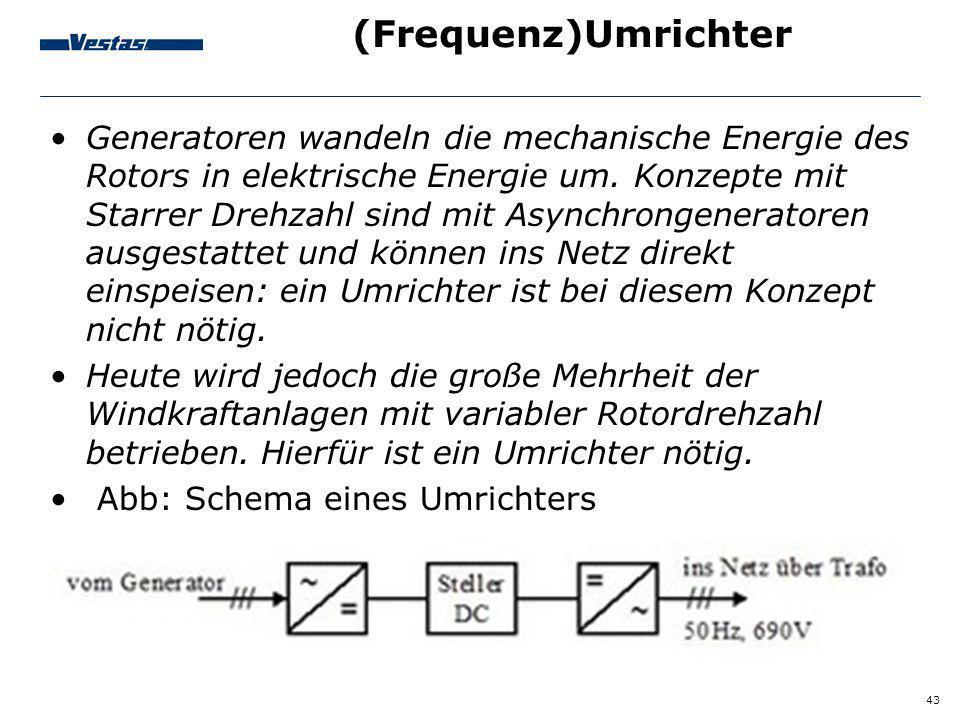 43 (Frequenz)Umrichter Generatoren wandeln die mechanische Energie des Rotors in elektrische Energie um. Konzepte mit Starrer Drehzahl sind mit Asynch