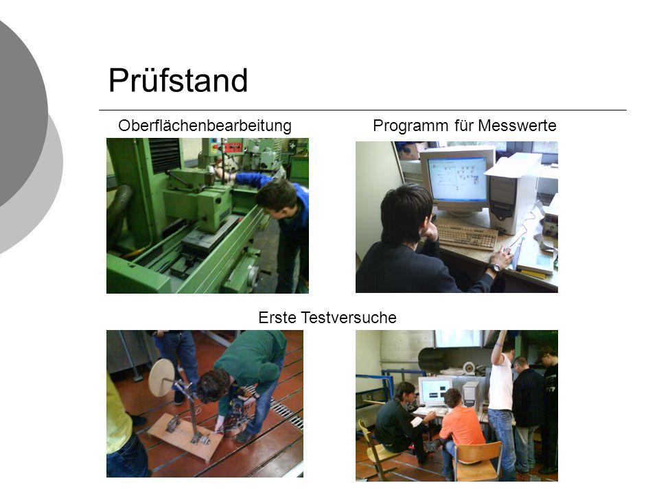 Prüfstand Oberflächenbearbeitung Erste Testversuche Programm für Messwerte