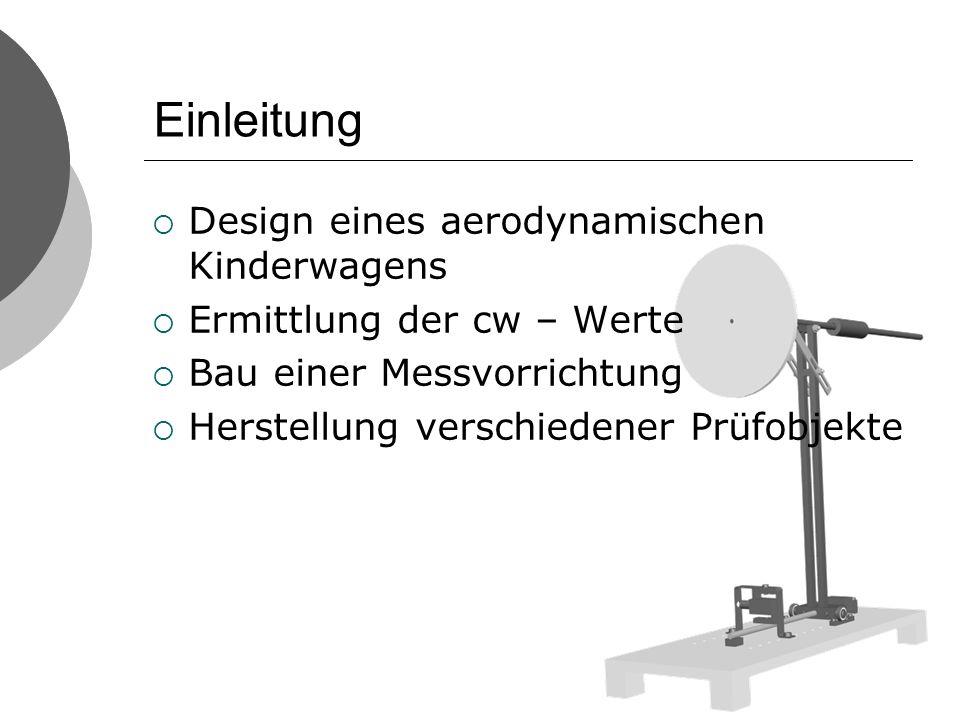 Einleitung Design eines aerodynamischen Kinderwagens Ermittlung der cw – Werte Bau einer Messvorrichtung Herstellung verschiedener Prüfobjekte