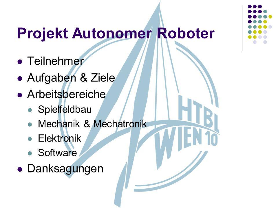 Projekt Autonomer Roboter Teilnehmer Aufgaben & Ziele Arbeitsbereiche Spielfeldbau Mechanik & Mechatronik Elektronik Software Danksagungen