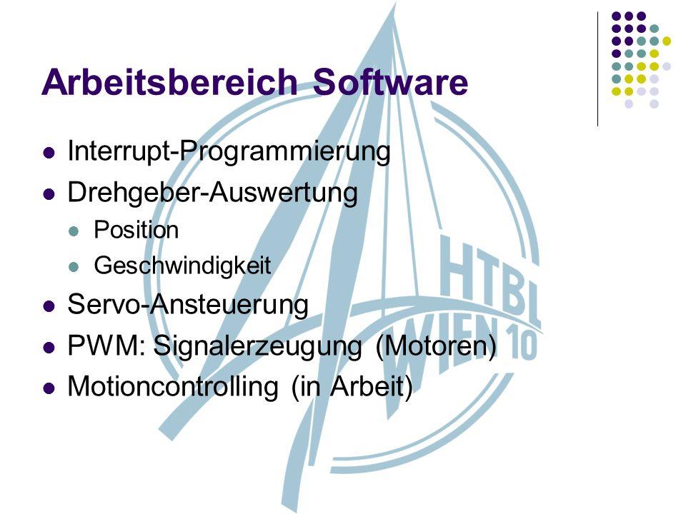 Arbeitsbereich Software Interrupt-Programmierung Drehgeber-Auswertung Position Geschwindigkeit Servo-Ansteuerung PWM: Signalerzeugung (Motoren) Motion