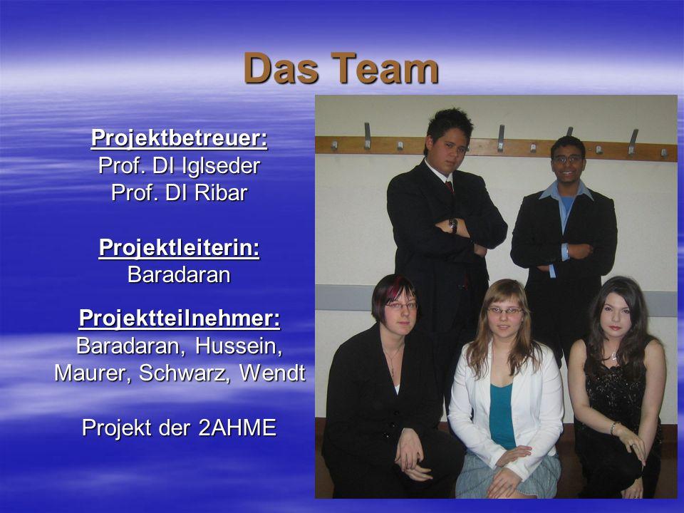 Das Team Projektbetreuer: Prof. DI Iglseder Prof. DI Ribar Projektleiterin:BaradaranProjektteilnehmer: Baradaran, Hussein, Maurer, Schwarz, Wendt Proj