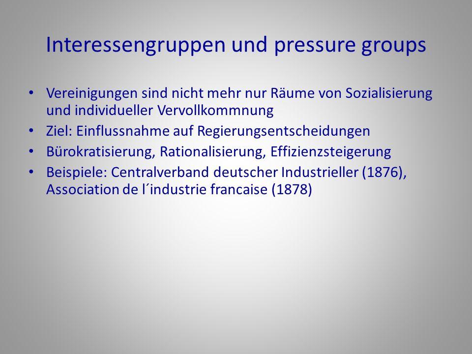 Interessengruppen und pressure groups Vereinigungen sind nicht mehr nur Räume von Sozialisierung und individueller Vervollkommnung Ziel: Einflussnahme