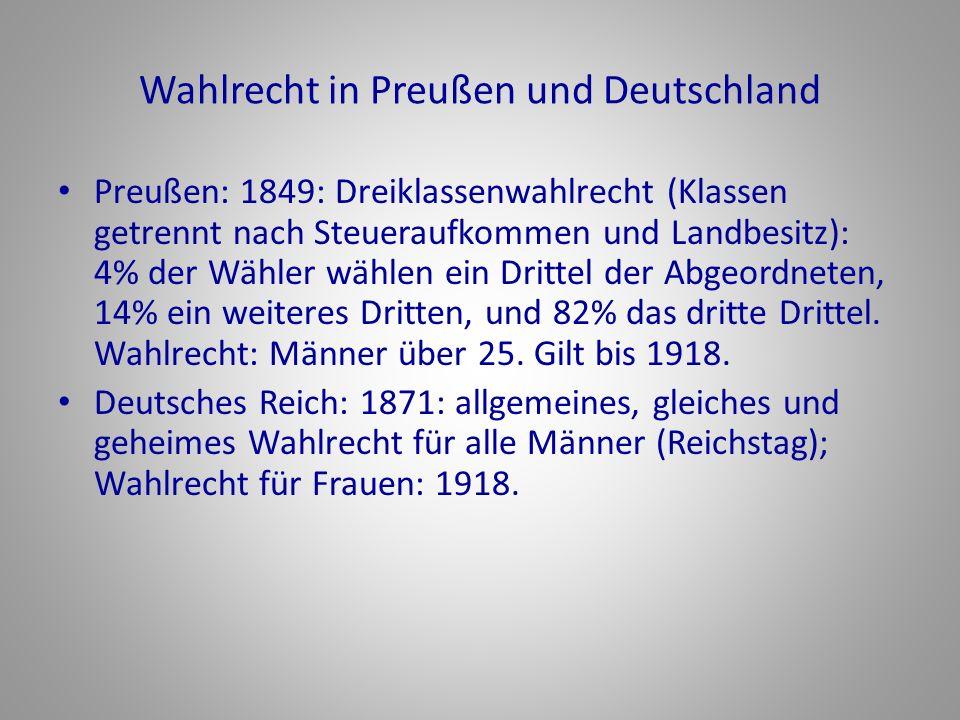 Wahlrecht in Preußen und Deutschland Preußen: 1849: Dreiklassenwahlrecht (Klassen getrennt nach Steueraufkommen und Landbesitz): 4% der Wähler wählen