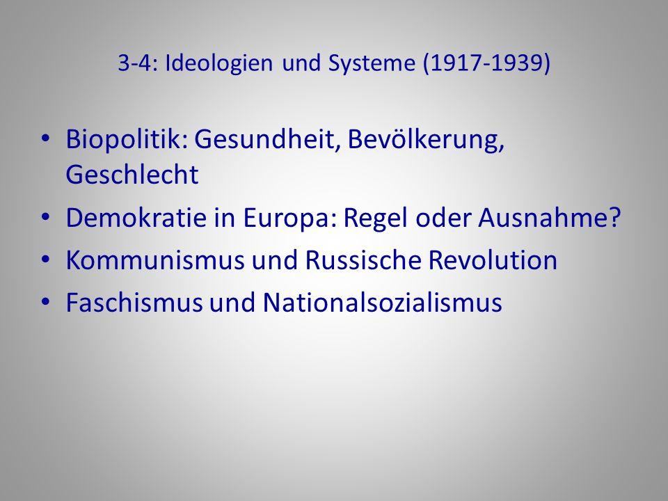 3-4: Ideologien und Systeme (1917-1939) Biopolitik: Gesundheit, Bevölkerung, Geschlecht Demokratie in Europa: Regel oder Ausnahme? Kommunismus und Rus