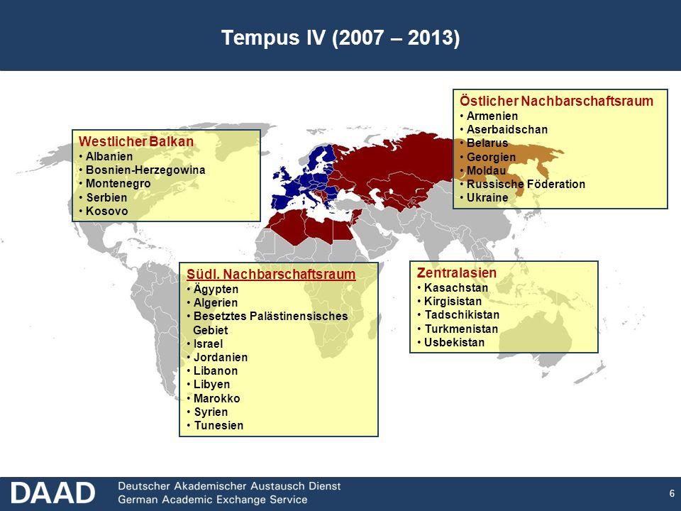 6 Tempus IV (2007 – 2013) Zentralasien Kasachstan Kirgisistan Tadschikistan Turkmenistan Usbekistan Östlicher Nachbarschaftsraum Armenien Aserbaidscha