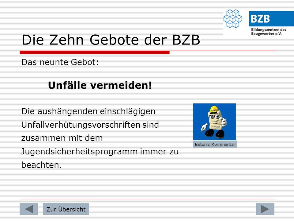 Die Zehn Gebote der BZB Das achte Gebot: Verhalten bei Unfällen und Verletzungen! Alle Unfälle und Verletzungen auf dem Gelände der BZB bzw. bei der A