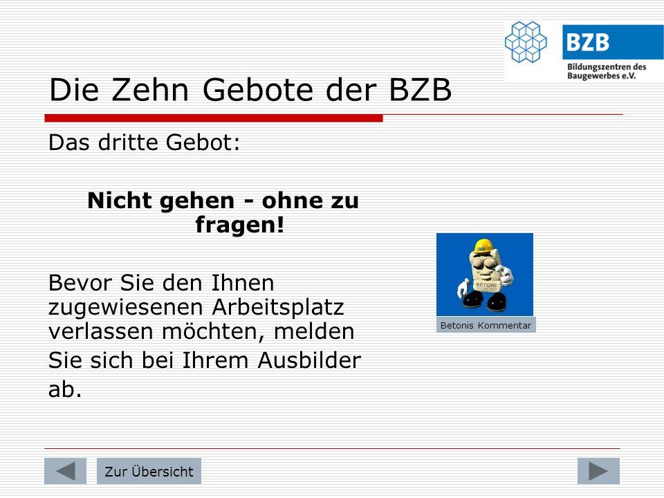 Die Zehn Gebote der BZB Das zweite Gebot: No Drugs Während der Arbeits- und Pausenzeiten gilt sowohl auf dem gesamten Gelände der BZB als auch außerha