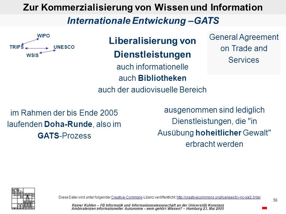Zur Kommerzialisierung von Wissen und Information Rainer Kuhlen – FB Informatik und Informationswissenschaft an der Universität Konstanz Ambivalenzen informationeller Autonomie - wem gehört Wissen.