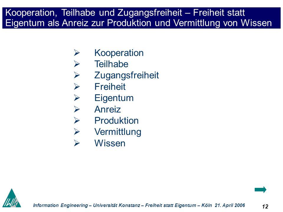 12 Information Engineering – Universität Konstanz – Freiheit statt Eigentum – Köln 21. April 2006 Kooperation, Teilhabe und Zugangsfreiheit – Freiheit