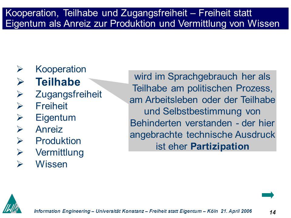14 Information Engineering – Universität Konstanz – Freiheit statt Eigentum – Köln 21. April 2006 Kooperation, Teilhabe und Zugangsfreiheit – Freiheit