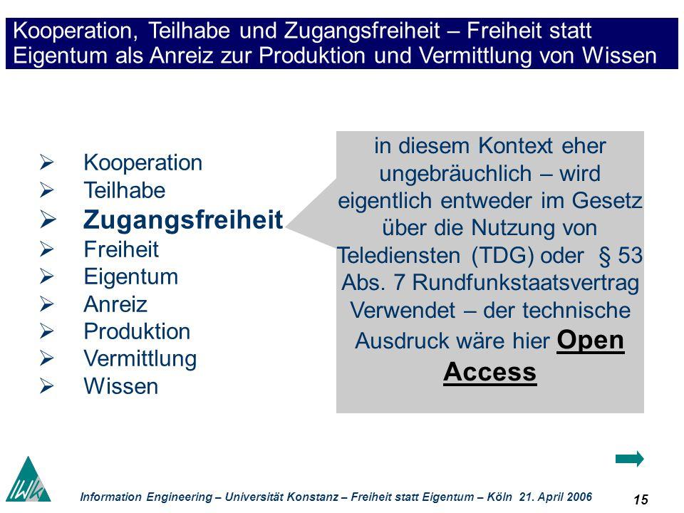 15 Information Engineering – Universität Konstanz – Freiheit statt Eigentum – Köln 21. April 2006 Kooperation, Teilhabe und Zugangsfreiheit – Freiheit