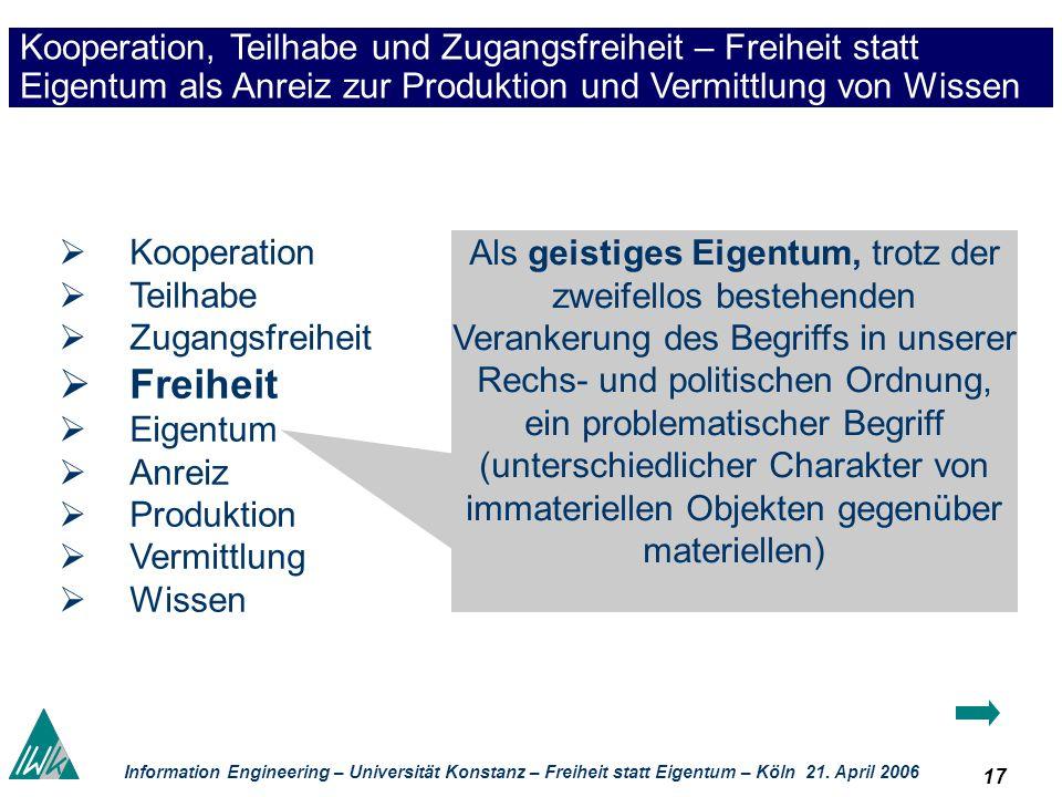 17 Information Engineering – Universität Konstanz – Freiheit statt Eigentum – Köln 21. April 2006 Kooperation, Teilhabe und Zugangsfreiheit – Freiheit