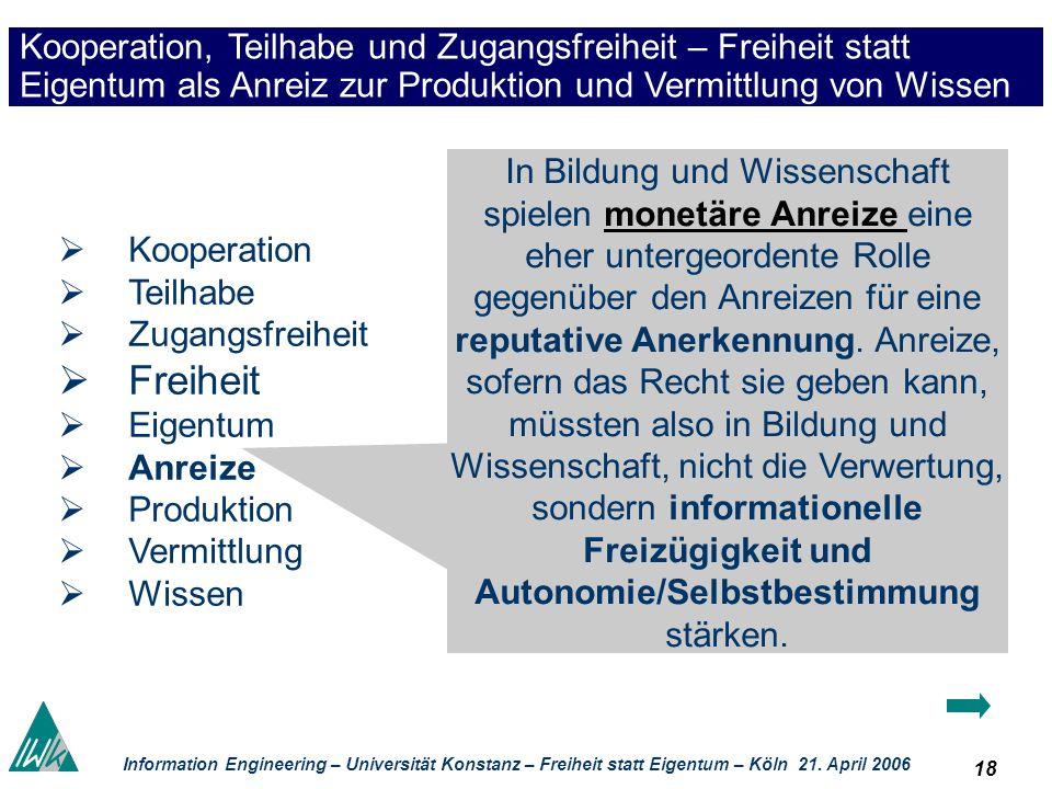 18 Information Engineering – Universität Konstanz – Freiheit statt Eigentum – Köln 21. April 2006 Kooperation, Teilhabe und Zugangsfreiheit – Freiheit