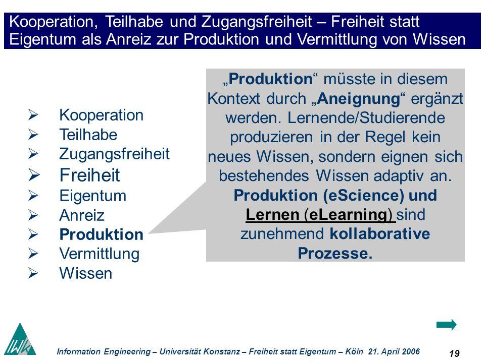 19 Information Engineering – Universität Konstanz – Freiheit statt Eigentum – Köln 21. April 2006 Kooperation, Teilhabe und Zugangsfreiheit – Freiheit