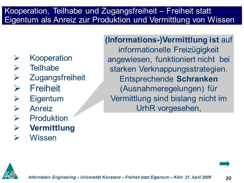 20 Information Engineering – Universität Konstanz – Freiheit statt Eigentum – Köln 21. April 2006 Kooperation, Teilhabe und Zugangsfreiheit – Freiheit