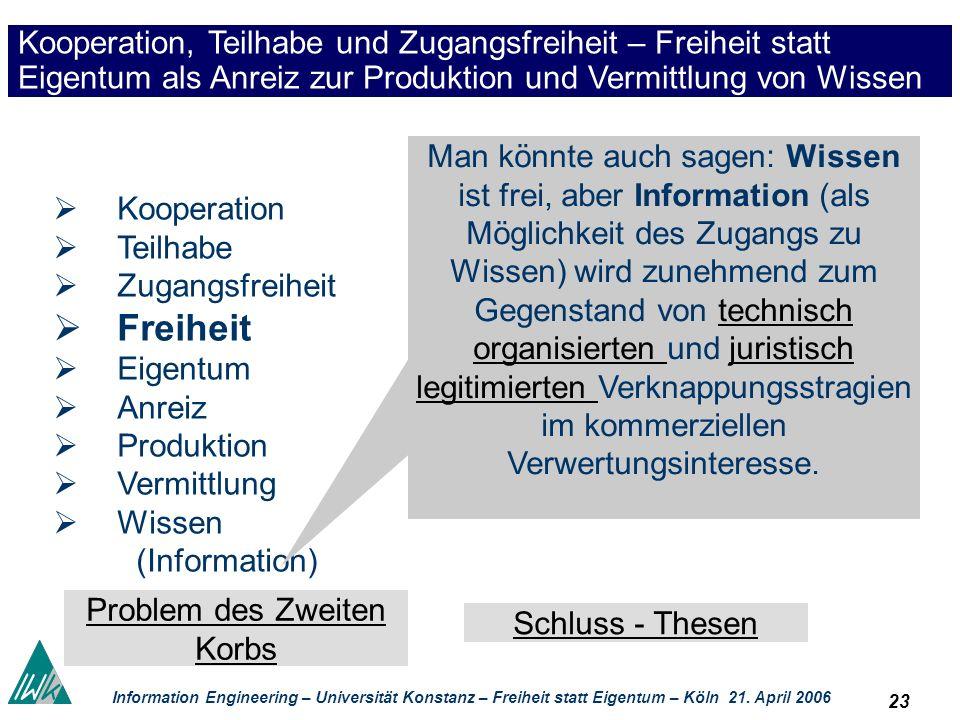 23 Information Engineering – Universität Konstanz – Freiheit statt Eigentum – Köln 21. April 2006 Kooperation, Teilhabe und Zugangsfreiheit – Freiheit