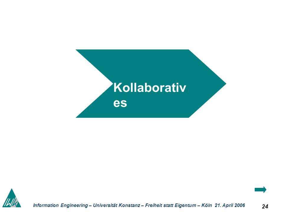 24 Information Engineering – Universität Konstanz – Freiheit statt Eigentum – Köln 21. April 2006 Kollaborativ es Wissens- manag ement