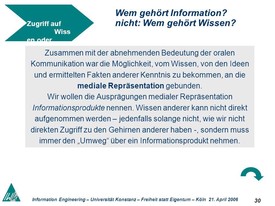 30 Information Engineering – Universität Konstanz – Freiheit statt Eigentum – Köln 21. April 2006 Zugriff auf Wiss en oder auf Information? Wem gehört