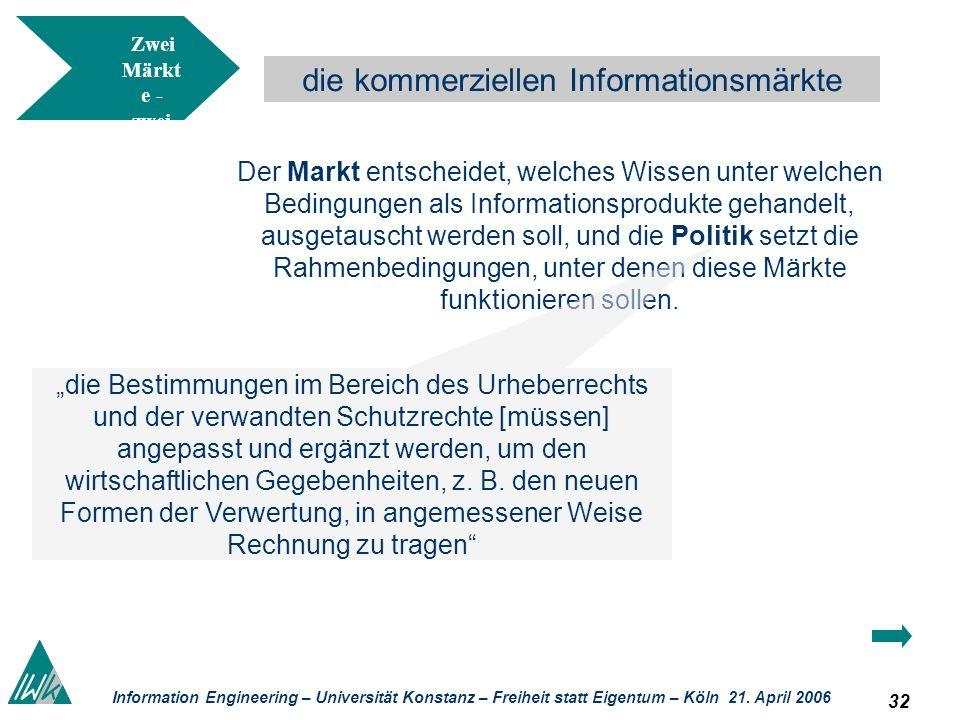 32 Information Engineering – Universität Konstanz – Freiheit statt Eigentum – Köln 21. April 2006 die kommerziellen Informationsmärkte Zwei Märkt e -