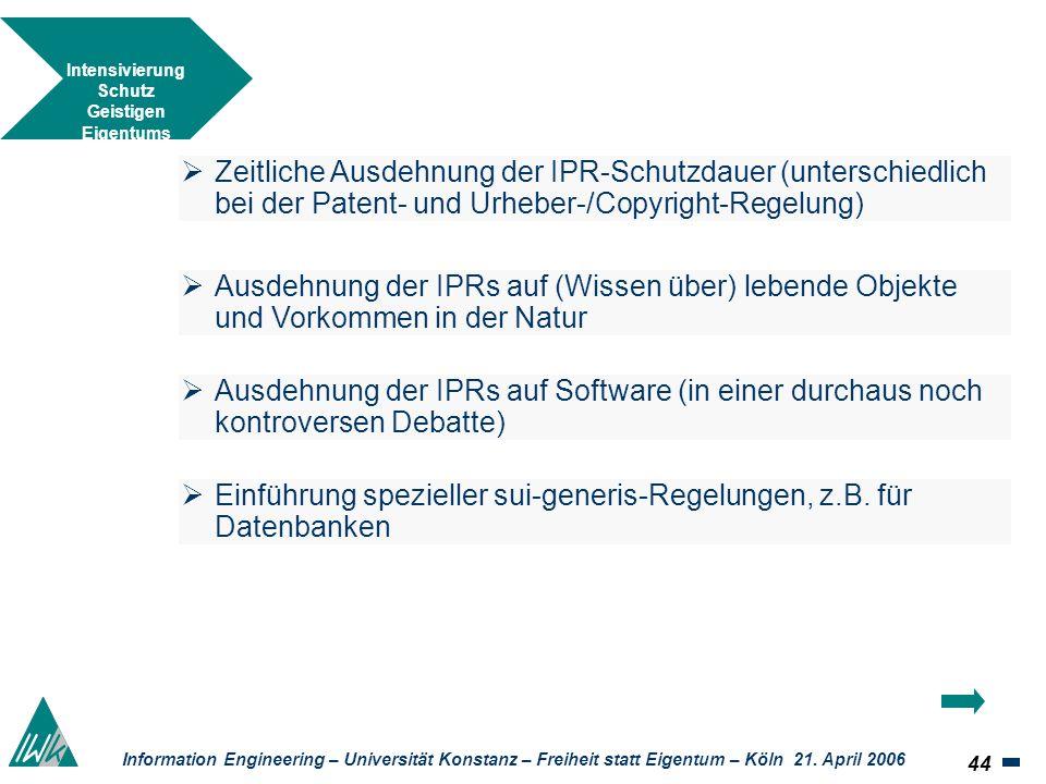 44 Information Engineering – Universität Konstanz – Freiheit statt Eigentum – Köln 21. April 2006 Intensivierung Schutz Geistigen Eigentums Zeitliche