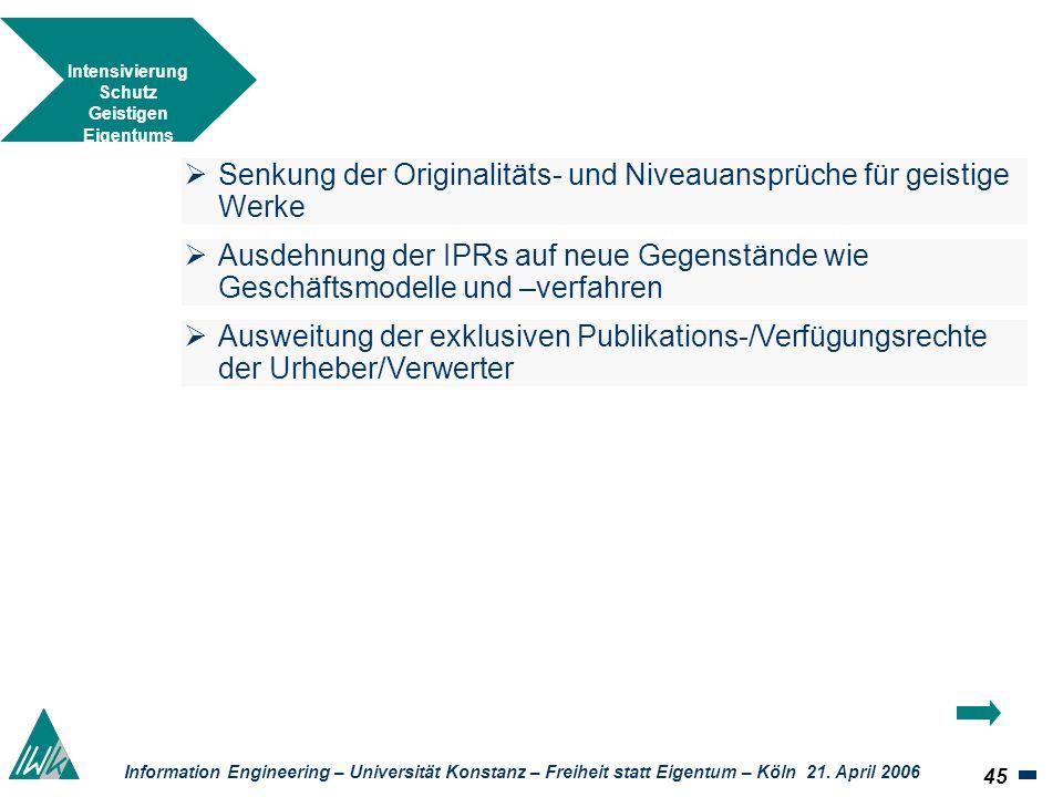 45 Information Engineering – Universität Konstanz – Freiheit statt Eigentum – Köln 21. April 2006 Intensivierung Schutz Geistigen Eigentums Senkung de