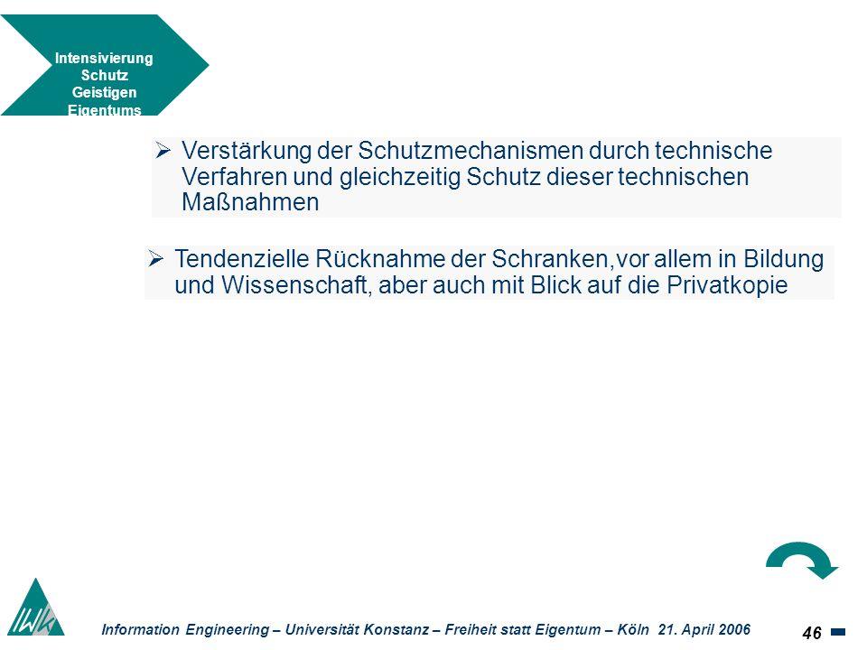 46 Information Engineering – Universität Konstanz – Freiheit statt Eigentum – Köln 21. April 2006 Intensivierung Schutz Geistigen Eigentums Tendenziel