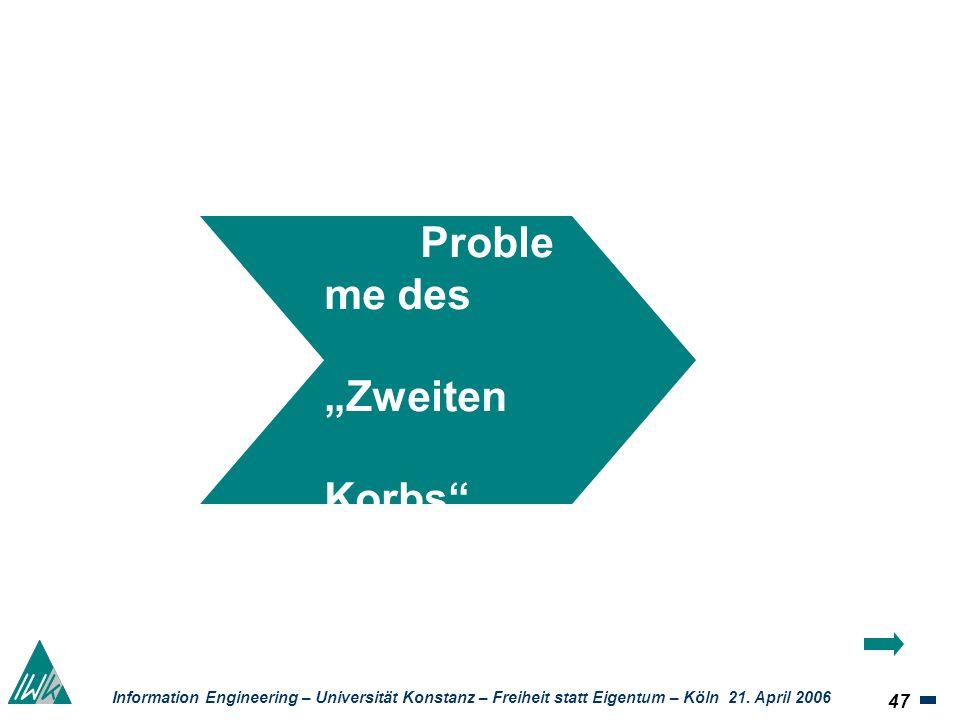 47 Information Engineering – Universität Konstanz – Freiheit statt Eigentum – Köln 21. April 2006 Proble me des Zweiten Korbs UrhR- Novellierun g