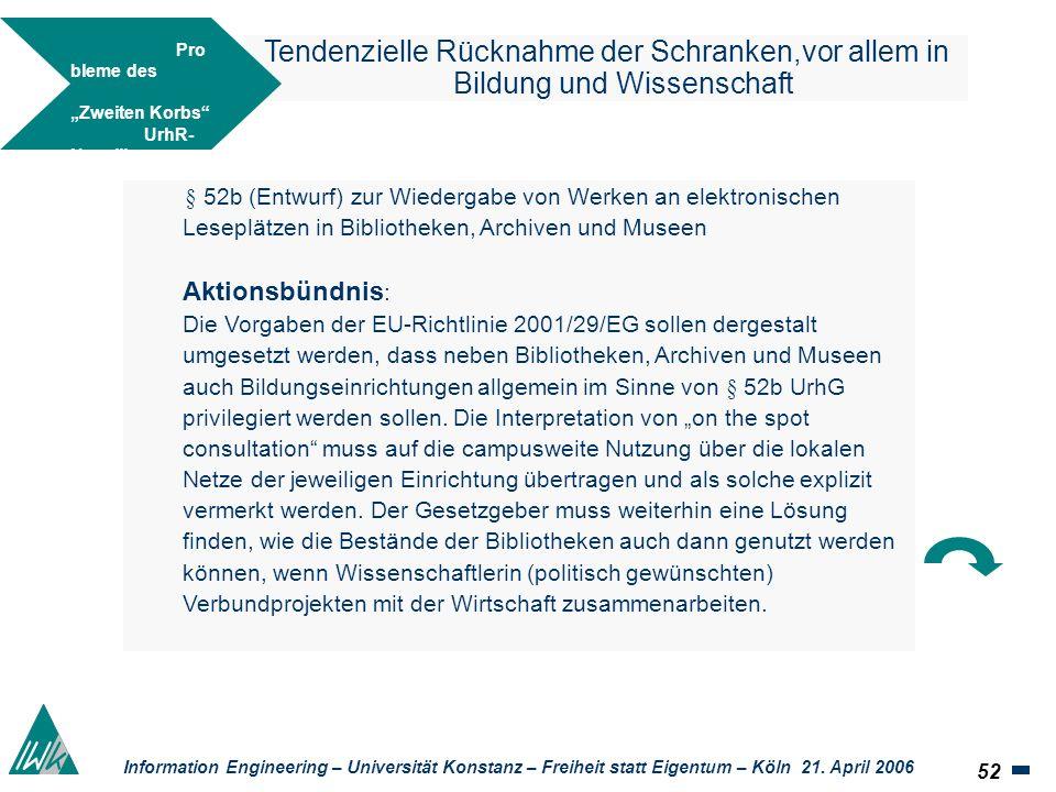 52 Information Engineering – Universität Konstanz – Freiheit statt Eigentum – Köln 21. April 2006 Tendenzielle Rücknahme der Schranken,vor allem in Bi