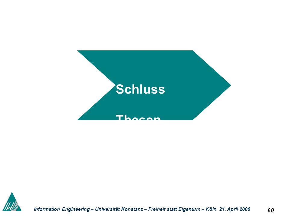 60 Information Engineering – Universität Konstanz – Freiheit statt Eigentum – Köln 21. April 2006 Schluss Thesen