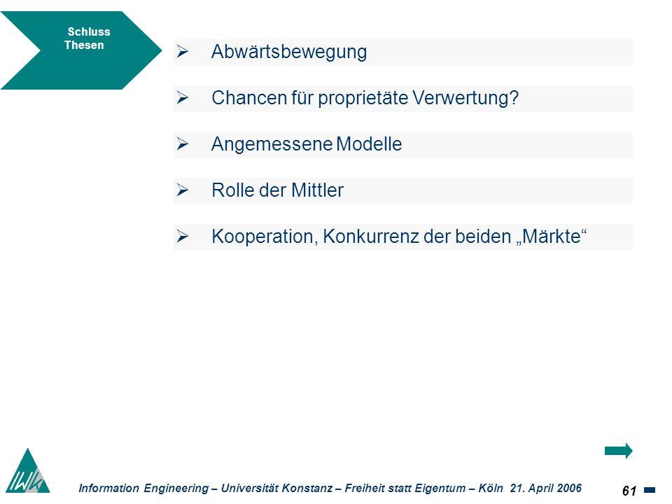 61 Information Engineering – Universität Konstanz – Freiheit statt Eigentum – Köln 21. April 2006 Schluss Thesen Abwärtsbewegung Chancen für proprietä